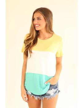 Not Wasting A Minute Color Block Tee   Yellow, Teal, And White by Hazel & Olive