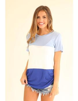 Not Wasting A Minute Color Block Tee   Blue And White by Hazel & Olive