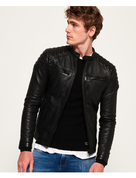 Hero Leather Racer Jacket by Superdry