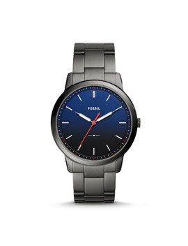 The Minimalist Slim Three Hand Smoke Stainless Steel Watch by Fossil