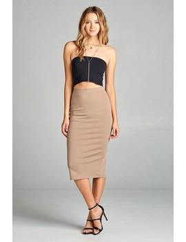 Ladies Fashion Ponte Pencil Midi Skirt  Id.35178g by 599 Fashion