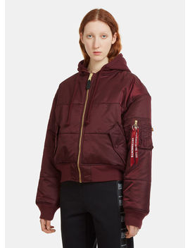 Alpha Industries Quilted Reversible Patch Bomber Jacket In Bordeaux by Vetements