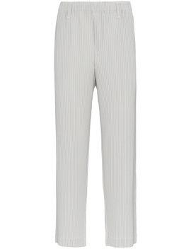 grey-plissé-straight-leg-trousers by homme-plissé-issey-miyake