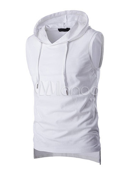 Men Sleeveless Top Hooded Drawstring High Low Tank Top by Milanoo