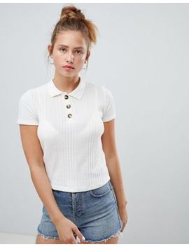 pull&bear-knitted-polo-top-in-cream by pull&bear