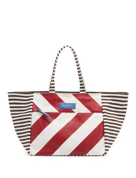 Striped Canvas Large Tote by Henri Bendel