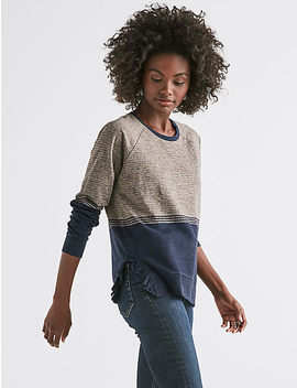 Ruffle Stripe Pullover by Lucky Brand
