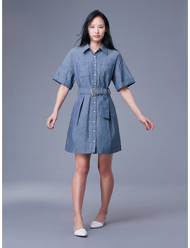 Short Sleeve Button Up Denim Belted Shirt Dress&Nbsp; by Dvf