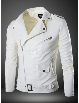 Men Leather Jacket White Motorcycle Jacket Turndown Collar Long Sleeve Leather Coat by Milanoo