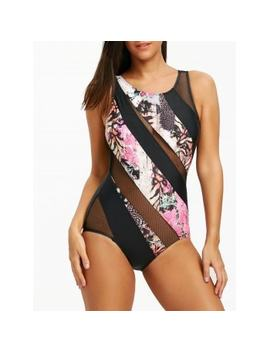 """<P>Open Back Mesh Insert Printed Swimsuit</P><I Class=""""Icon Down Js Tap Up Down""""></I> by Dress Lily"""