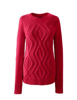 Women's Petite Drifter Cotton Cable Sweater by Lands' End
