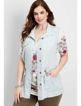 Plus Size Light Wash Vest by Maurices