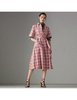 Painted Check Cotton Shirt Dress by Burberry