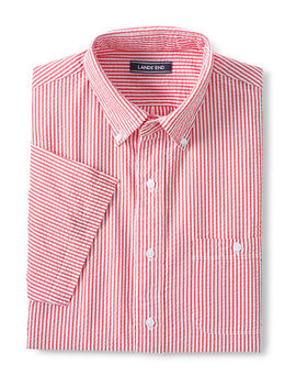 Men's Traditional Fit Short Sleeve Seersucker Shirt by Lands' End