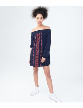 Long Sleeve Embroidered Off The Shoulder Shift Dress by Aeropostale