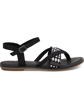 Black Heritage Canvas Women's Lexie Sandals by Toms