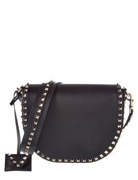 Valentino Rockstud Leather Saddle Bag by Valentino