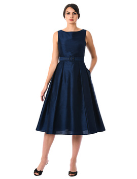 Dupioni Belted Fit And Flare Dress by Eshakti