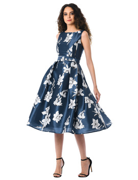 Floral Print Dupioni Belted Dress by Eshakti