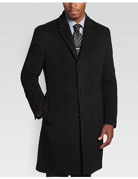 Calvin Klein Black Modern Fit Cashmere Blend Topcoat by Mens Wearhouse