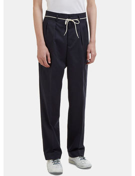 Cuffed Twill Striped Tailored Pants In Navy by Maison Margiela