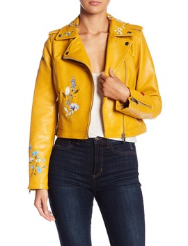 Embroidered Faux Leather Jacket by Romeo & Juliet Couture