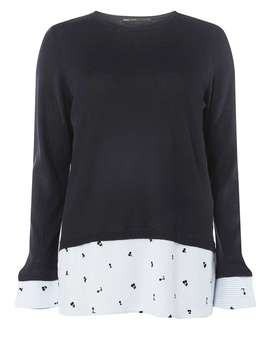 ** Only Navy 2 In 1 Pullover Knitted Top by Dorothy Perkins
