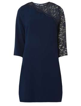 Navy Asymmetric Lace Sleeve Shift Dress by Dorothy Perkins