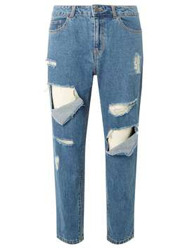 **Noisy May Blue Fishnet Jeans by Dorothy Perkins