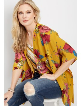 Large Floral Print Kimono by Maurices
