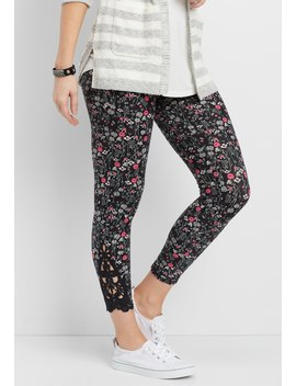 Ultra Soft Floral 7/8 Legging With Crochet Bottom Hem Inlay by Maurices