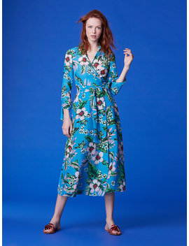 Cinched Sleeve Collared Wrap Dress Cover Up by Dvf