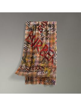 Graffiti Vintage Check Wool Silk Scarf by Burberry