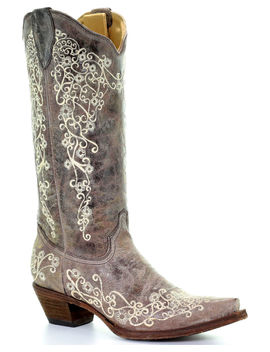 Corral Brown Crater With Bone Embroidery Cowgirl Boots   Snip Toe by Corral