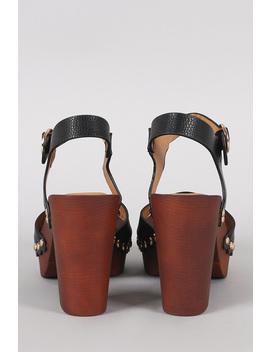 Qupid Peep Toe Studded Faux Wooden Chunky Platform Heel by Urbanog