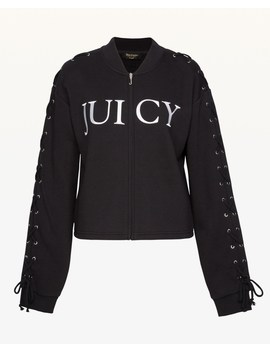 Fleece Lace Up Bomber Jacket by Juicy Couture