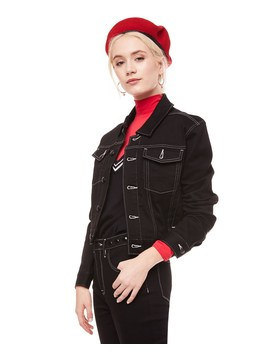 Contrast Stitched Black Denim Jacket by Juicy Couture