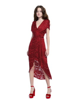 Darva Gathered Mock Wrap Midi Dress by Alice And Olivia