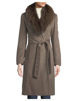 Fox Fur Collar Slick Wool Wrap Coat by Ellen Tracy