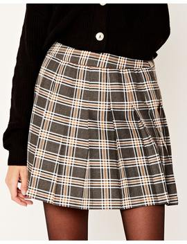 Check Pleated Mini Skirt by Glassons