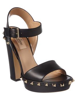 Valentino Rockstud Platform Leather Sandal by Valentino