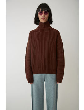 Gerippter Sweater In Kastiger Passform Schokoladenbraun by Acne Studios