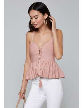 Tasseled Lace Up Cami by Bebe