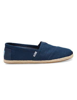 Navy Linen Rope Sole Men's Classics by Toms