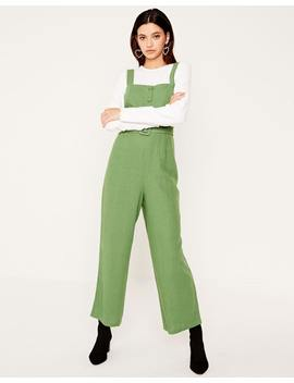 Linen Blend Belted Jumpsuit by Glassons