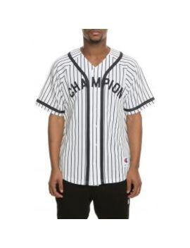 The Champion Branded Pinstripe Baseball Jersey In White/Navy by Champion