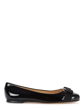 Varina Black Patent Leather Ballet Flats by Salvatore Ferragamo