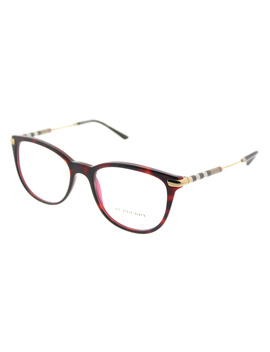 Be 2255q 3657 53mm Top Havana On Bordeaux Square Eyeglasses by Burberry
