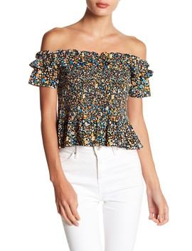 Smocked Off The Shoulder Crop Top by Bcb Generation