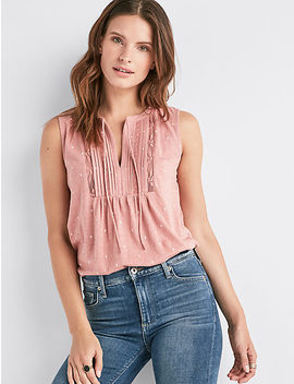 V Neck Sleeveless Lace Mix Top by Lucky Brand